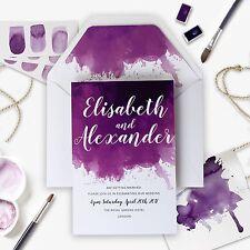 Purple Watercolor Watercolour Wedding Day Invitation - Sample