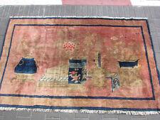 Antique Chinese Art Rug Carpet Vintage Rare 190x120-cm / 74.8x47.2-inches