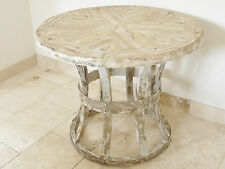 Wooden Rustic Distressed Painted Shabby Chic Round Table with inlaid 4186