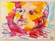 ACEO kimartist GRUNGE BABY 8 original art brut outsider pop portrait painting