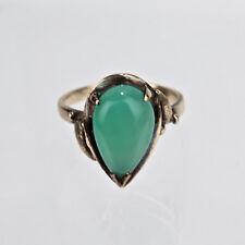 Estate 14K Gold & Apple Green or Jade Color Pear Cut Chrysoprase Ring - Sz 7 VR