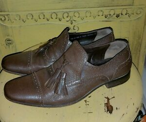 VINTAGE BALLY SWITZERLAND BROWN LEATHER MENS TASSEL LOAFERS DRESS SHOES 6.5 M