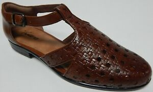 Trotters Leatha Size US 6.5 M Women's Leather Open Weave Sandals Brown T1908-226