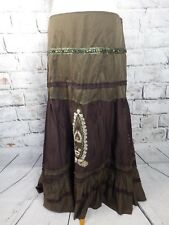"Vintage Indian skirt 14 waist 33"" khaki brown sequins beads maxi long boho folk"