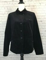 Talbots Womens Coat Size M/L ??  Black Velvet Long Sleeve Button Front Jacket