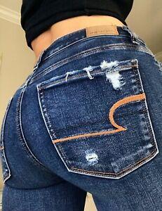 American Eagle Super High Rise Jegging Destroyed Denim Blue Jeans size 2 X Short