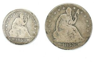 Lot of 2 1853 Arrows & Rays Seated Liberty 25C Quarter & 50C Half Dollar 99c NR