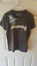 Women's Aeropostale Black Embroidered with flowers XL T - Shirt Classic Crew New
