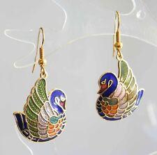 Elegant Genuine Cloisonne Enamel Swan Earrings 1970s vintage