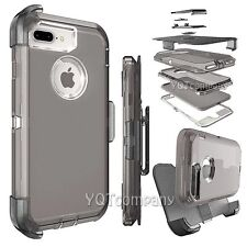 Apple Iphone 7 PLUS Phone Case Cover With Kickstand And Belt Clip Holster Clear