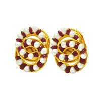 Real Freshwater Pearl & Red Ruby Beads Gold Plated Stud Earrings SE77