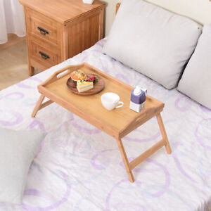 Foldable Bed Tray Table Bamboo Computer Table for Food Eating & Working
