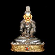 Tibet old black stone gold inlay turquoise Amitayus Buddha guanyin Statue 20CM