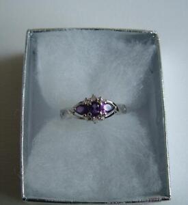 925 Sterling Silver Amethyst Topaz gemstone Ring size L in box.