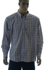 Men Chaps Ralph Lauren Work Button Dress Shirt Blue Tan Plaid 16 1/2 34 35 NEW