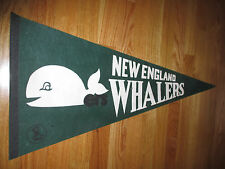 "Vintage 70s WHA NEW ENGLAND WHALERS 30"" Pennant GREEN"