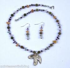 "Multi Gemstone ""3 Autumn Leaves"" Necklace Artisan Handmade Pmc 999 Fine Silver &"
