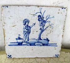 1800 Antique Delft Tile Dutch Blue White  Jesus Christ Zaccheus Religious HTF