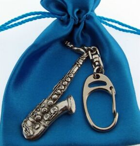 Saxophone Chunky 3D Silver Pewter Keyring In A Satin Gift Bag