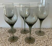 "Orrefors Crystal PRELUDE SMOKE 8 1/4"" Water Goblets Set of 5"