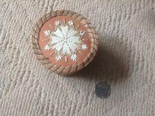 Old Native Grass Ogibway Indian Porcupine Quill BIRCH Bark Basket~Snowflake Lid