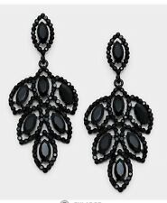 Rhinestone chandelier fashion earrings ebay 275 long black jet drop austrian crystal pageant rhinestone earrings formal mozeypictures Image collections