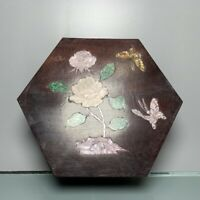 Noble old Boxwood Inlay Conch flower Usable Precious big hexagonal Jewelry Box