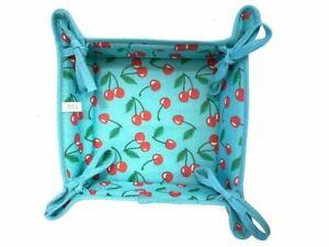 22cm, Reversible Fabric Bread Basket 100% Cotton CHERRY & blue s Foldable Basket