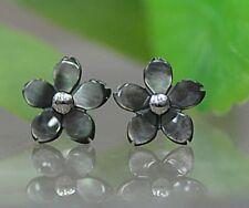 10mm Cherry Blossom 925 Sterling Silver MOP Black Sea Shell Flower Stud Earrings