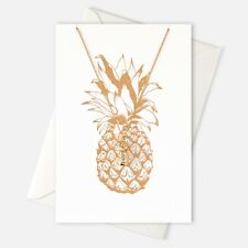 Orelia Jewellery Gold Pineapple Necklace & Birthday Blank Card, gift for her