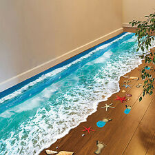 EP_ 3D Beach Floor Wall Sticker Removable Mural Decals Vinyl Art Living Room Pea
