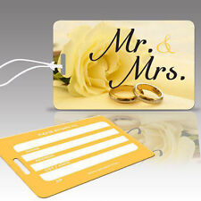 TagCrazy Wedding Luggage Tags,Mr Mrs w/ Wedding Rings,Durable Plastic Loops-1 Pk