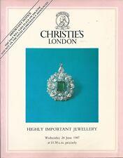 CHRISTIE'S LONDON HIGHLY IMPORTANT JEWELS ANTIQUE King Leka Albania Catalog 1987