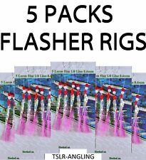 6 Packs Blue Spark Flash 5 Crochet 1//0 Maquereau Plumes Leurres Mer Pollack Herring