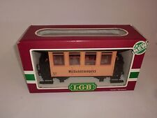 Lehmann LGB 3407 Passenger Car Bottle Train kräuterwagerl Yellow with Cable