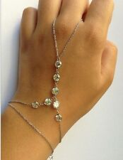 Beautiful Silver Chain Crystal Charm Bracelet Finger Ring Slave Hand Harness