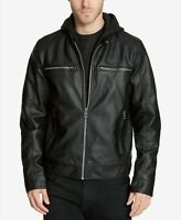 GUESS Men's Faux-Leather Detachable-Hood Motorcycle Jacket Medium Black