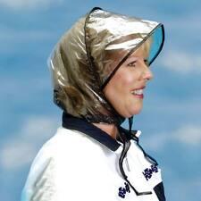 Weather Rain Bonnet Ladies Visor Hair Cover Plastic Waterproof Hood Foldable d9c101be94b