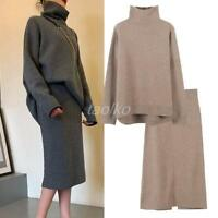 Warm High Collar Short Sweater Kniting Skirts Womens Winter 2pcs Suits tops size