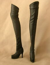 Cher Barbie Doll Size Faux Black Leather Long Boots For Model Muse Fast Shipping