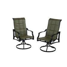Outdoor Swivel Patio Dining Arm Chair (2 Pack) Padded