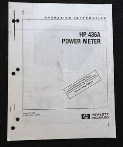 HEWLETT PACKARD HP 436A POWER METER OPERATING INSTRUCTION MANUAL GOOD SHAPE