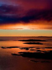ORANGE PURPLE OCEAN SUNSET PHOTO ART PRINT POSTER PICTURE BMP2405A