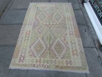 Kilim Old Traditional Hand Made Afghan Oriental Kilim Green Wool 193x128cm