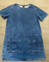 Ladies TOPSHOP MOTO Denim Blue Tunic Dress With Pockets UK 12