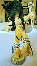 Vintage Buffalo Dancer Corn Husk Kachina Doll