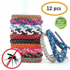 12 PCS Anti Mosquito Insect Repellent Hair Band Wrist Bracelet Camping Outdoor