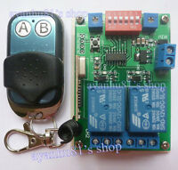 DC 12V Relay 2CH 433MHz Wireless RF Remote Control Switch Transmitter +Receiver
