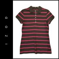 Izod Women Casual Formal Short Sleeve Stripe Golf Polo Shirt Size Small Pink Nwt