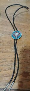 BOLO TIE Steer Head. Pewter with Turquoise color Inlay and nice looking